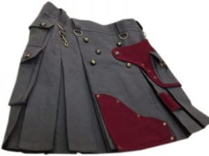maroon and black kilt