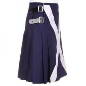 blue flag with white cross kilt
