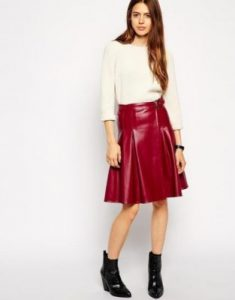red leather women kilt
