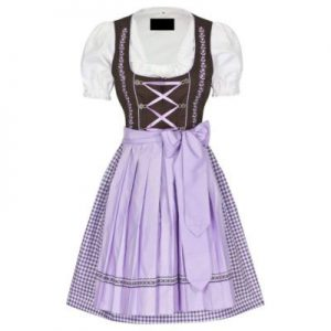 purple and white dirndl dress
