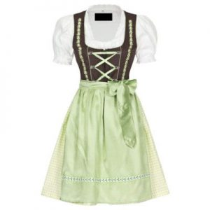 green and white dirndl dress