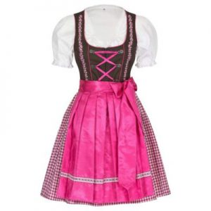 pink and white dirndl dress