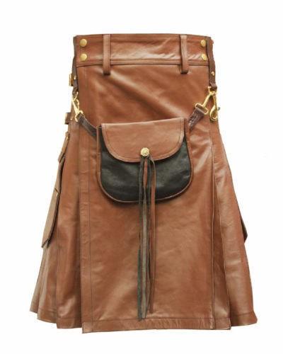 light brown color leather kilt