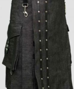 Heavy Black Denim Kilt