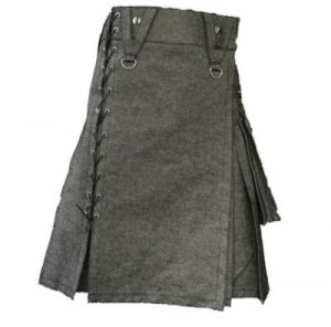 black denim mens kilt