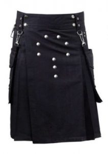 darkest black color utility kilt