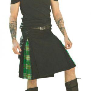 black and green tartan kilt