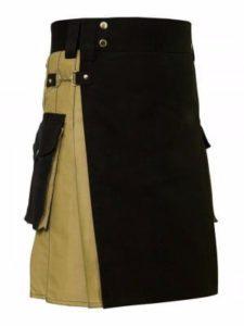 khaki with black utility kilt