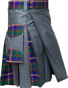 gray and marine tartan kilt
