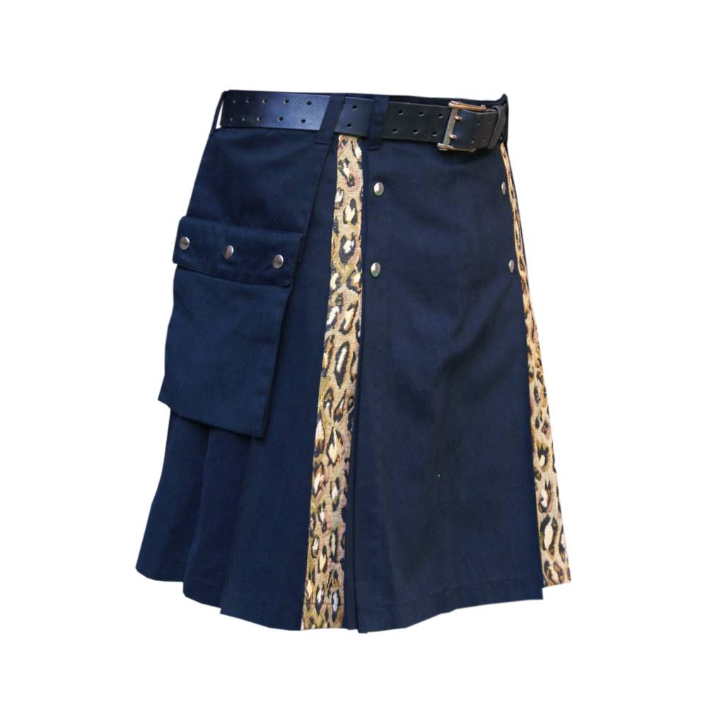 Black Kilt with Leopard Style Pleats