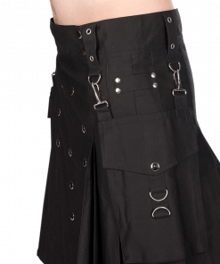 This is the finest qualityScottish Man Kilt available for sale because it is manufacture with the original material. Buy this Black Utility Pistol Kilt