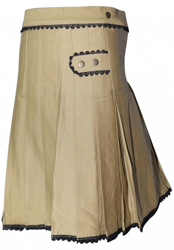 Khaki Black Lace Women Kilt